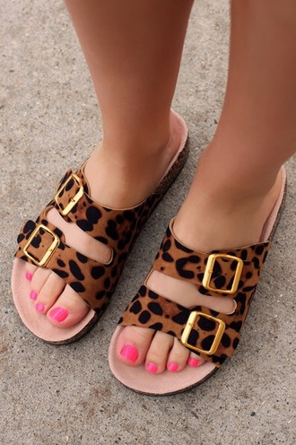 shoes birkenstocks flat sandals animal print leopard print shoes