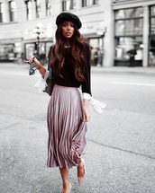 hat,tumblr,black hat,beret,skirt,midi skirt,pleated,pleated skirt,pink skirt,sweater,black sweater