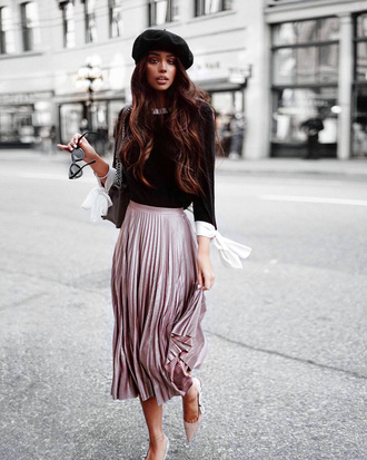 hat tumblr black hat beret skirt midi skirt pleated pleated skirt pink skirt sweater black sweater