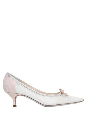 bow pumps lace white shoes