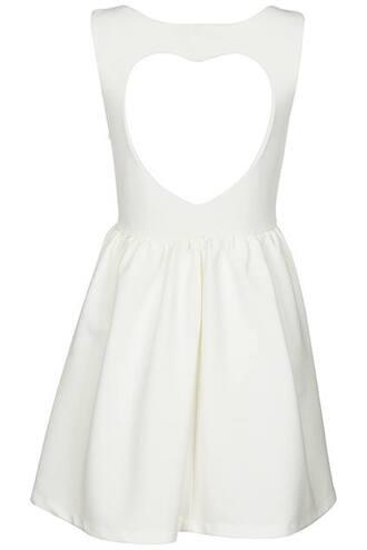 dress white romwe dress heart