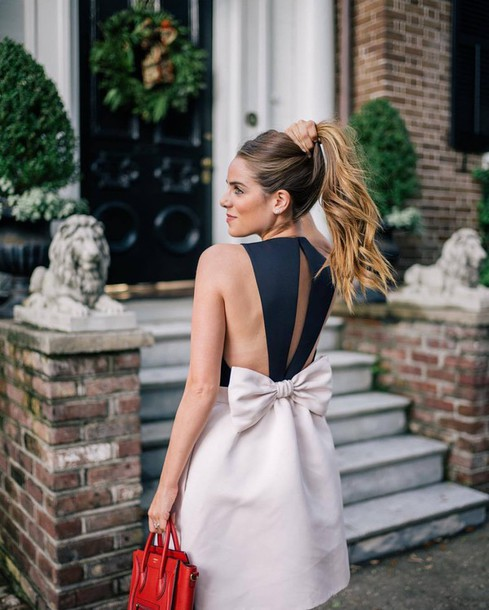 Dress Tumblr Bow Dress Bow Black And White Open Back Open Back