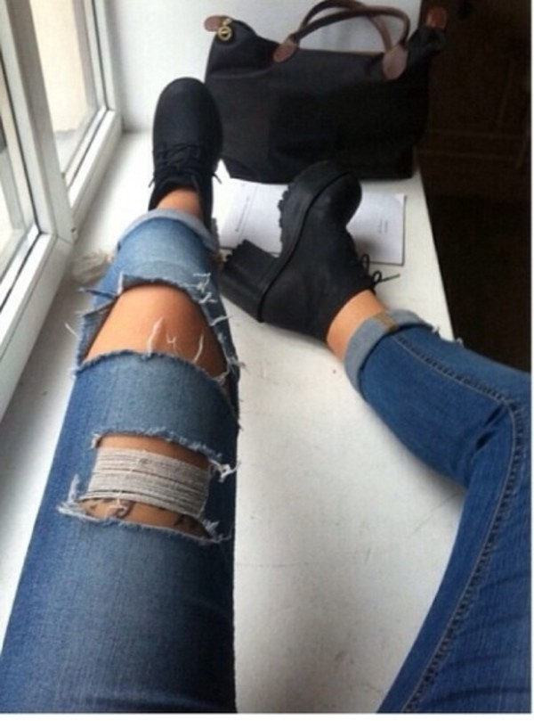 jeans blur jeans shoes denim ripped jeans light wash jeans girl rippers hipster indie grunge