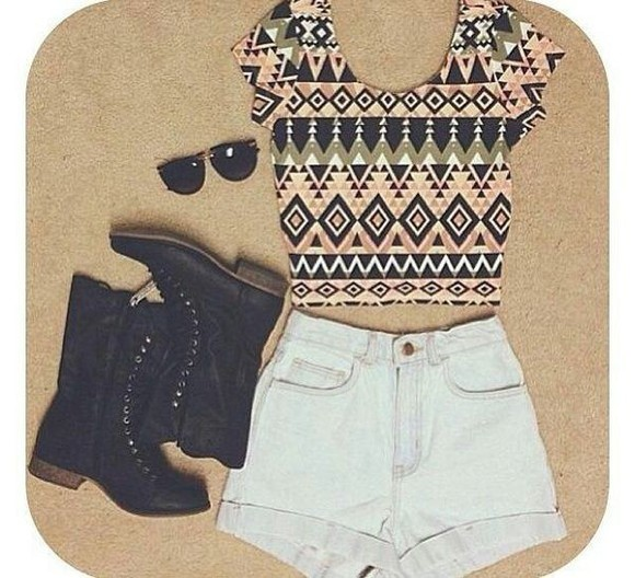 outfit outfit idea shorts highwaisted shoes black boots shirt glasses crop tops aztec tank top crop tops