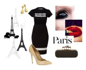top nude shoes slogan top paris classy outfit black pencil skirt ontrend excuse my french girly skirt