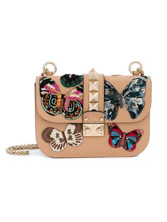 metal women butterfly bag shoulder bag leather purple pink