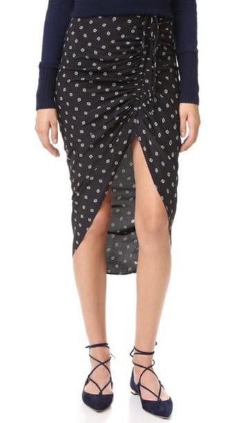 Veronica Beard Ari Ruched Drawstring Skirt - Black