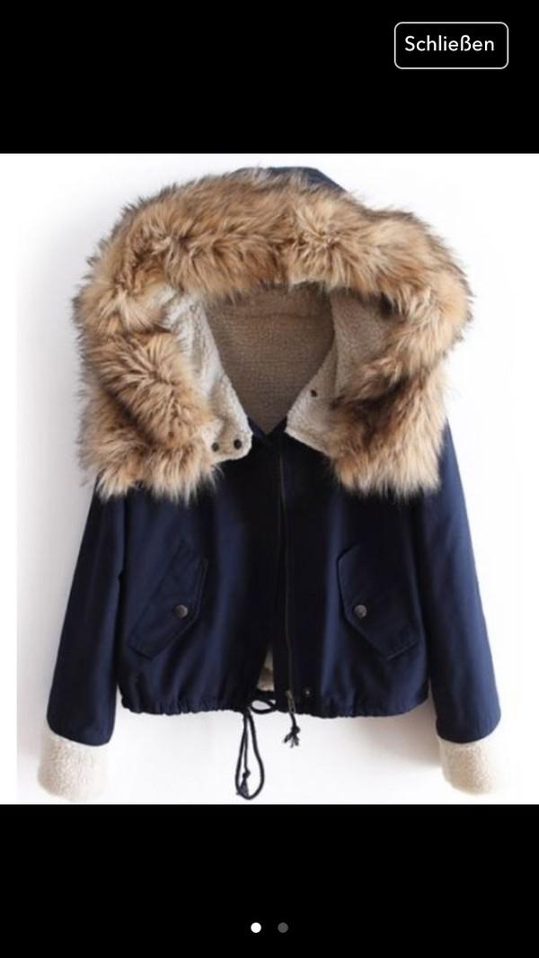 jacket jacket coat winter cold blue fur coat hooded blouse français green