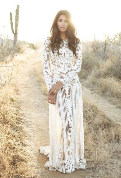 Dress white vintage boho boho dress floral white for White hippie wedding dress