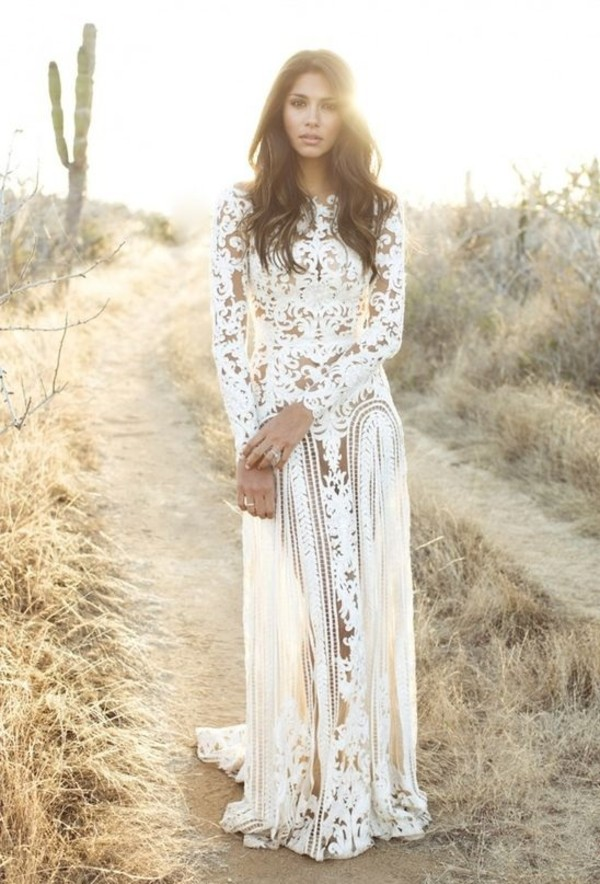 Boho Online Clothing Stores Boho Nude Lace Wedding Gown