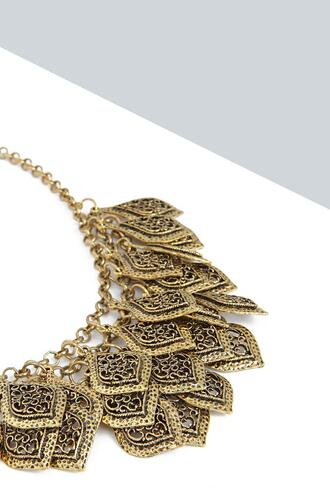 jewels statement necklace gold leaves
