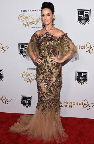 dress gown prom dress lace dress katy perry off the shoulder floral gold