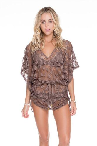 dress brown cover up lace v neck bikiniluxe