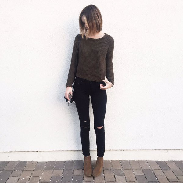 sweater boots ripped jeans acacia brinley jeans shoes