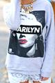 """Chic """"marilyn monroe"""" print sweatshirt hoodies with dip"""