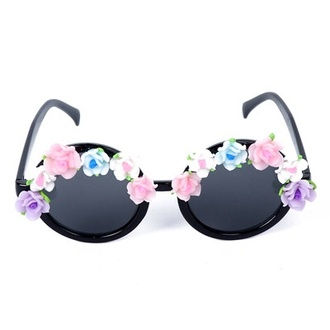 sunglasses flowers kawaii pale goth hipster gyaru japan ulzzang roses contacts
