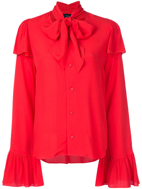 blouse bow women red top
