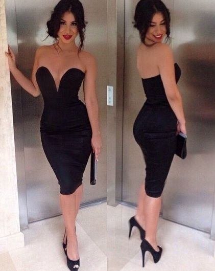 Celeb Deep V Body Con Plunge Black Dress Towie | eBay