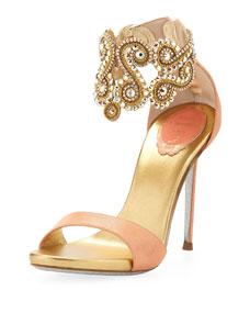 Rene Caovilla Crystal Embellished Ankle Bracelet Sandal