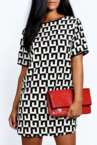 dress geometric short sleeve