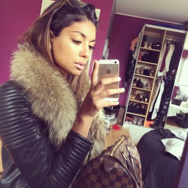 Leather jacket with fur collar   FASHADDICT
