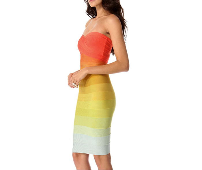 Gradient color beam waist packet buttock polyester color matching bandage dress for women (as the picture,l)