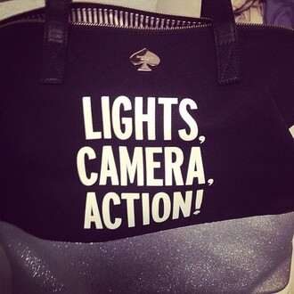 bag camera quote on it lights camera action !!! ! black bag tote bag spade