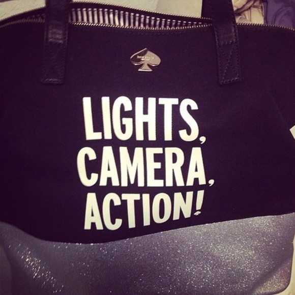 bag tote bag tote black bag words lights camera action !!! ! spade camera