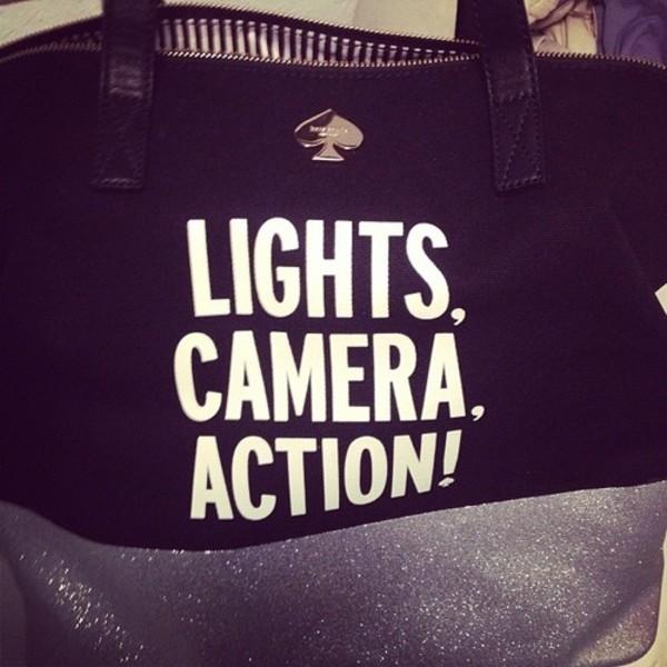 bag quote on it lights camera action !!! ! black bag tote bag tote bag spade camera