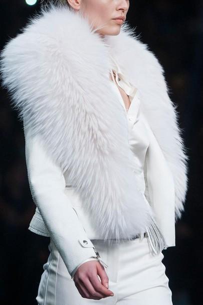 coat fur coat white fur