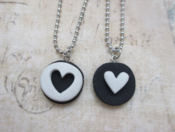 Oreo cookie friendship necklaces by rudeandreckless on Etsy