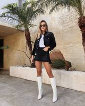 shoes,boots,white boots,over the knee,high heels boots,mini skirt,black denim,white t-shirt,denim jacket,sunglasses,earrings