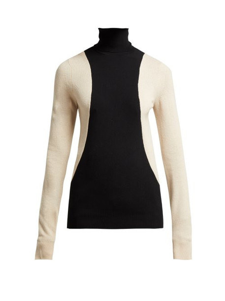 Helmut Lang - Colour Block Wool Blend Roll Neck Sweater - Womens - Black Multi