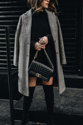 pam hetlinger,the girl from panama,blogger,shoes,sweater,dress,coat,bag,sunglasses,fall outfits,fall coat,chanel bag,boots,over the knee boots,black dress