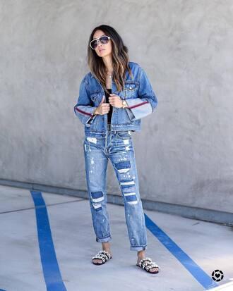 jacket tumblr denim denim jacket blue jacket jeans blue jeans shoes slide shoes