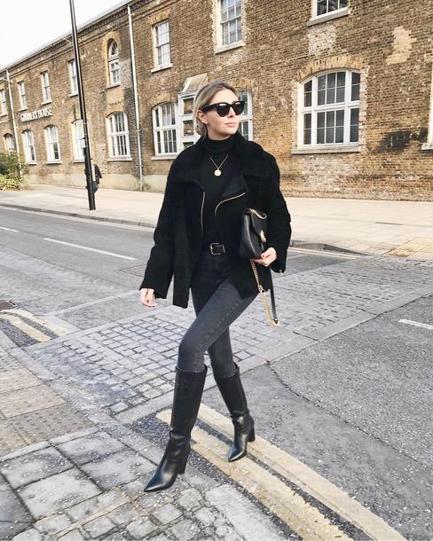 jacket tumblr black jacket leather jacket black leather jacket shearling jacket black shearling jacket shearling denim jeans black jeans boots black boots sunglasses