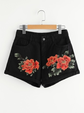 shorts girly black embroidered floral