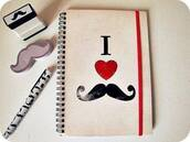 notebook,pencils,moustache,hipster wishlist,desk