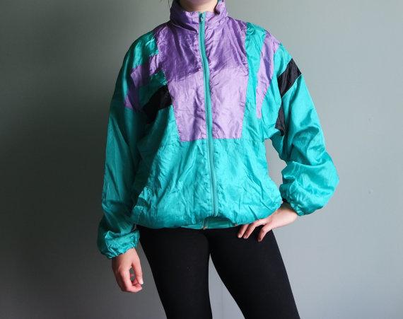 0bdee3bf 80s Vintage Sport Jacket Hidden Hoodie Side Pockets Retro Activewear Golden  Team Windbreaker