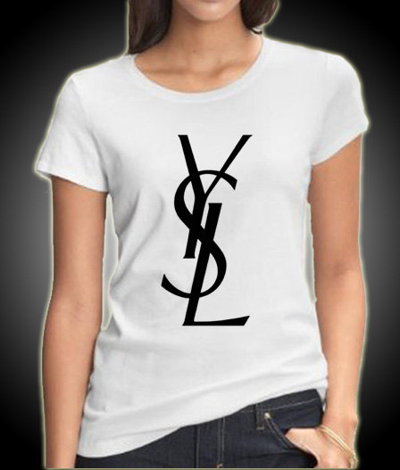 New ysl logo women white t shirt tee sxxl size by kingclothing for Ysl logo tee shirt