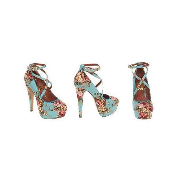shoes floral pink high heels blue high heels criss cross strap