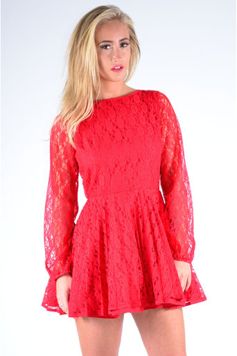 Ladies Inez Pleated Lace Dress in Red | Pop Couture