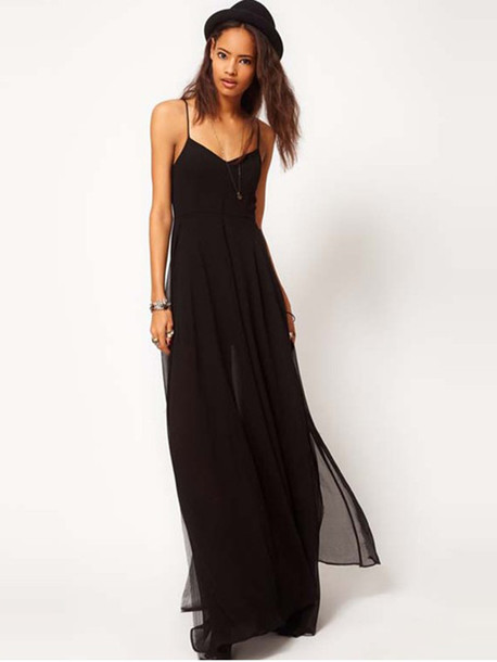 Dress: black, chiffon, long dress, maxi dress, fashion dress ...