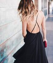 dress,backless dress,tumblr,black dress,open back,open back dresses,backless,hair,ombre hair,long hair,hairstyles