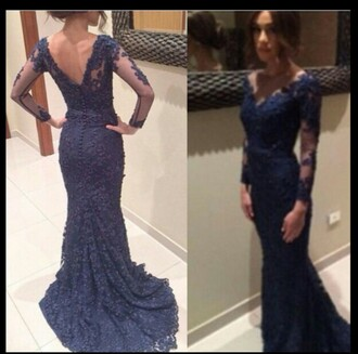 dress navy dress prom dress long prom dress long dress lace dress lace mermaid prom dress prom gown