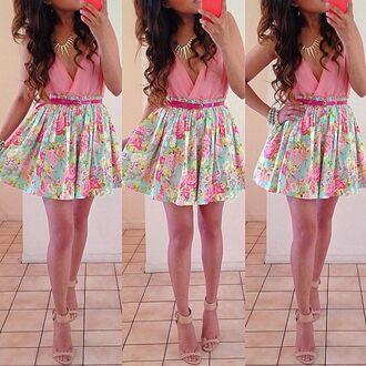 skirt pleated bodysuit pink blue necklace pumps heels floral skirt flowers pleated skirt belt clothes floral dress shirt