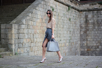 fashion vibe blogger bag sunglasses elegant office outfits slit skirt skirt shoes sweater jewels