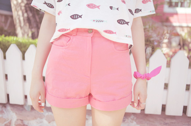 shirt clothes teenagers cute kawaii pink lovely new animal shorts
