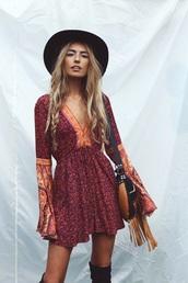 dress,bell sleeves,boho,boho chic,boho dress,red dress,bell sleeve dress,festival dress,patterned dress