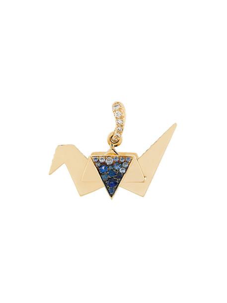 AURELIE BIDERMANN women origami pendant gold grey metallic jewels
